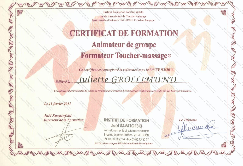 Juliette Grollimund Attestation Formatrice Toucher Massage IFJS