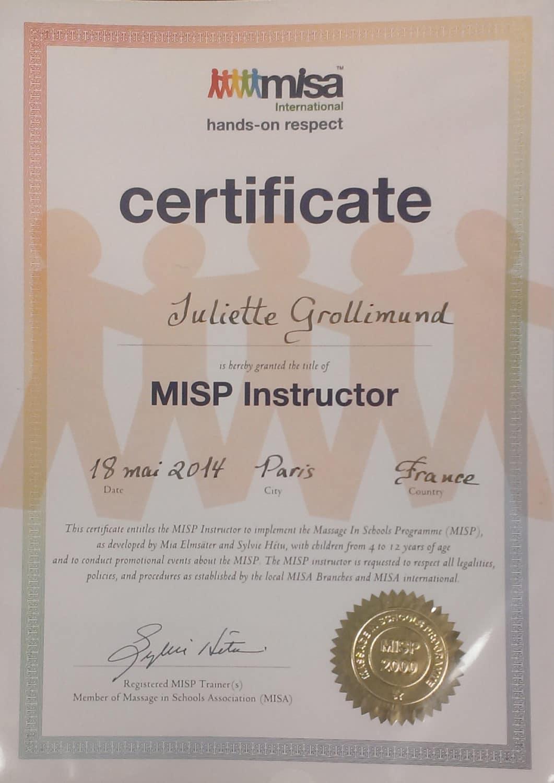 Juliette Grollimund Attestation Instructrice massage école MISP