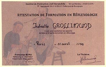 Juliette Grollimund Attestation Praticienne Réflexologie plantaire IFJS
