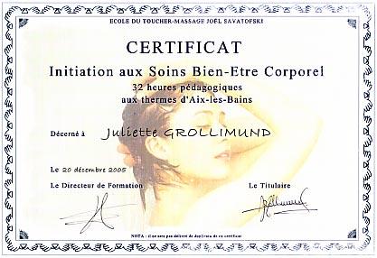 Juliette Grollimund Attestation Praticienne Soins SPA IFJS
