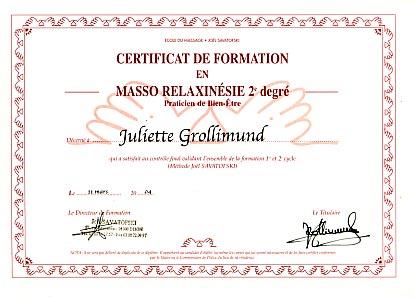Juliette Grollimund Attestation Praticienne Toucher Massage cycle 2 IFJS