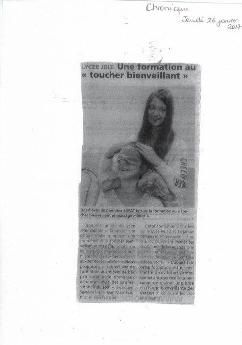 Article formation massage Juliette Grollimund en Lycée professionnel