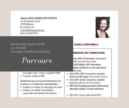 Formations, compétences, expériences professionnelles et références massages bien-être, la Trame, Access Bars Juliette Grollimund KerAnanda Rennes