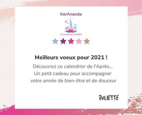 Calendrier de l'Après KerAnanda massage Rennes voeux 2021