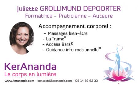 Carte de visite Juliette Grollimund Depoorter Ker Ananda Massages Trame GuidanceRennes